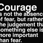 Courage is not the absence of fear, but rather the judgement that something else is more important than fear.
