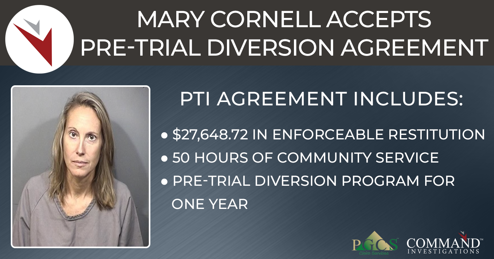 Mary Cornell accepts Pre-Trial Diversion agreement