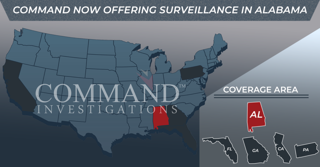Command Investigations offering surveillance and field investigation services in Alabama
